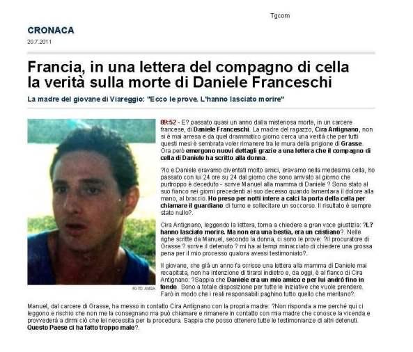 www.tgcom.mediaset.it 20 Luglio 2011 la verità sulla morte di Daniele Franceschi